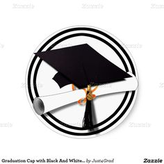 #Graduation Cap with Black And White Circle Sticker by #Just4Grad #GRADuationClass #Gravityx9 #Zazzle