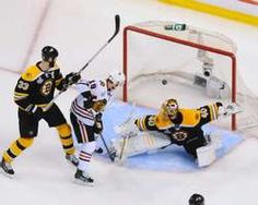 Tuukka Rask #40 of the Boston Bruins misses the puck to let in a goal in overtime shot by Brent Seabrook of the Chicago Blackhawks in Game Four of the Stanley Cup Final at TD Garden http://www.fansedge.com/Brent-Seabrook-Chicago-Blackhawks-in-Stanley-Cup-Final-Game-4-on-6192013-_-740173555_PD.html?social=pinterest_pfid77-38100