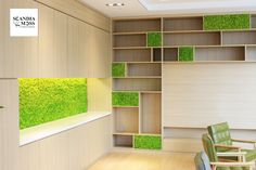 Scandia Moss SM Panels - Invenstment Bank Lounge in Seoul.  Creating Green, Sustainable & Maintenance-Free Interiors. Fire Safe (NS-EN ISO 11925-2), Harmful Substance Removal & Deodorization (JEM 1467) and Acoustic Insulation (KS F 2805).