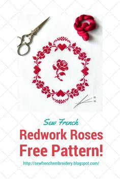 A cheerful and charming free cross stitch pattern of pretty hearts and roses. Embroidery, shabby chic, Cath Kidston, vintage, French, classic, fun, needlecraft, hand sewing
