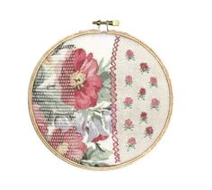 Shabby Chic Rosey Flowers Handstitched Hoop by ThisandThatCrafter, $37.50