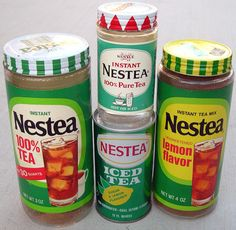 I grew up drinking Nestea so these items bring back memories. The jars on the left and right were in a friend's cupboard. Vintage Advertisements, Vintage Ads, Retro Ads, Vintage Stuff, Retro Packaging, Tea Hats, Flavor Ice, Retro Recipes, Good Ole
