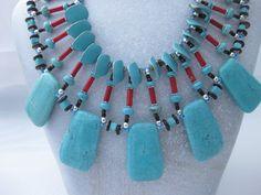 Amerindian inspired Bib Necklace by blingbychristine on Etsy, $75.00