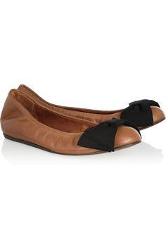 1921349226ec Lanvin - Grosgrain bow-detailed leather ballet flats