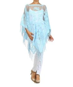 Loving this Light Blue Lace Fringe Long-Sleeve Poncho on #zulily! #zulilyfinds