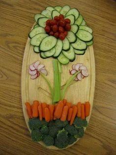 Flower Veggie Platter - 16 Healthy Spring Recipes for Kids | GleamItUp