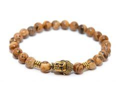 BUDDHA náramok gold jaspis kalahari Buddha, Beaded Bracelets, Gold, Jewelry, Jewlery, Jewerly, Pearl Bracelets, Schmuck, Jewels