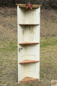 Primitive Old Door And Barnwood Corner Shelf