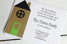 Change of Address Cards, Housewarming Party, Welcome Home Party $16.00 @Jessica Favole