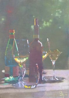 Bernie Fuchs, Wine and Glasses oil on linen
