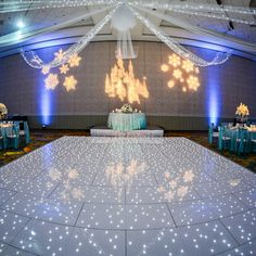The best way to guarantee your guests get their groove on is with an illuminated dance floor #Disney #wedding