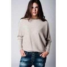 Beige Sweater with Textured Knit with Boat Neck
