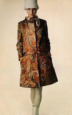 Benedetta Barzini in a mod Bill Blass coat, 1966