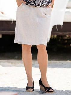 Falda recta de lino en tallas grandes