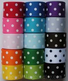 "NEW -- Swiss Dots Collection - 5/8"" inch Grosgrain Ribbon (15 yards, 15 different colors)"