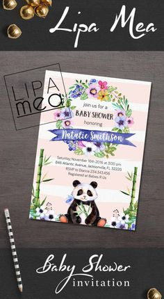 Baby Shower Invitation, Floral Baby Shower Invitation, Animal Baby Shower Invite, Girl Baby Shower Invitation, Panda Baby Shower Invitations - pinned by pin4etsy.com