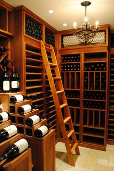 traditional wine cellar by Superior Woodcraft, Inc. Home Wine Cellars, Barolo Wine, Bar A Vin, Wine Cellar Design, In Vino Veritas, Tasting Room, Wine Storage, Bars For Home, Wine Rack