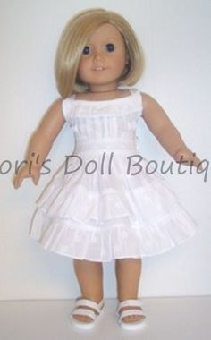 WHITE COTTON SUN DRESS W/RUFFLES Doll Clothes made for 18 inch American Girl