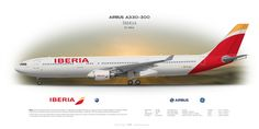 Airbus A330-300 Iberia EC-MAA | Airliner Profile Art Prints www.aviaposter.com | #airliners #aviation #jetliner #airplane #pilot #airline #aviationlovers #avgeek #jet #passenger #airbus #a330 #iberia