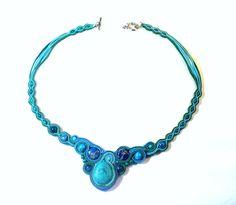 Blue Stone Necklace,Soutache,Modern Choker,Elegant, One of a Kind Jewelry
