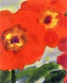 Emil Nolde (1867-1956) Red Poppy Flowers (c. 1950) watercolour on Japan paper 17.6 cm x 14.3 cm