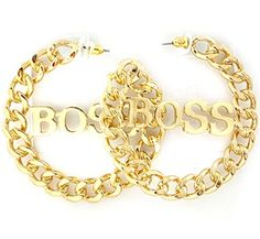 P.S. I Love You More Boutique | Boss Chain Hoop Earrings in Gold or Silver | www.psiloveyoumoreboutique.com