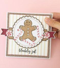 card cookies candy canes, gingerbread cookie man Three scoops stamp set, jul kort julekort honningkage mand glædelig jul