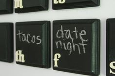 i love this chalkboard calendar idea. wooden blocks painted with chalkboard paint. i've always wanted a chalk board wall.but i think this will do! Chalkboard Fridge, Chalkboard Paint, Chalkboard Calendar, Paint Calendar, Chalkboard Ideas, Chalk Paint, Wall Calender, Chalk Wall, Magnetic Chalkboard
