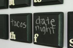 Chalkboard Weekly Calendar Fridge Magnet Set