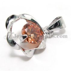 925 Silver Pendant with Zircon (Electroplating platinum) with Free Chain