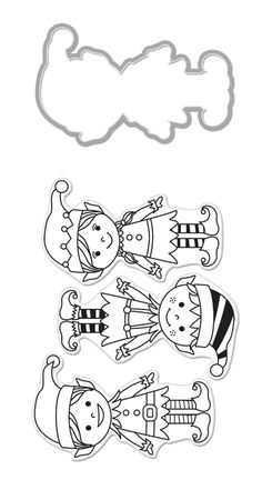 Hero Arts - Christmas - Die and Clear Acrylic Stamp Set - Santa's Elves at Scrapbook.com