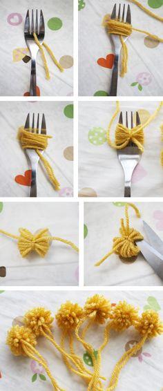 Nice little image tutorial for fork pom poms