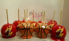 Basketball candy apples