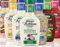 Bolthouse Farms Yogurt Based Dressings. These right here? They are AMAZINGLY good, and none are more than 45 calories per serving! (2 tablespoons = 1 Point Plus) Ranch, Chunky Blue Cheese, Salsa Ranch, Zesty French, Caesar Parmigiano, Thousand Island, and Honey Mustard are on their list, not including their awesome looking vinaigrettes  with the same stats! I'm in love!