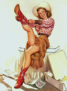 Cowgirl-Pinup-'Ready to go' Glossy Giclee print on five star paper-Matted on light Red board -Free Shipping USA by SILVESTROMEDIA, $19.99