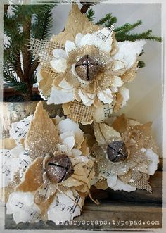 Getting crafty with Tim Holtz scrapbooking/crafting products & instructions ~ DIY sparkle Christmas decorations ~ ♥