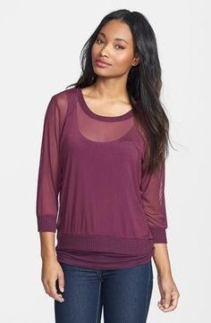 Olivia Moon Mesh Top with Tank Insert (Regular & Petite) available at #Nordstrom $48