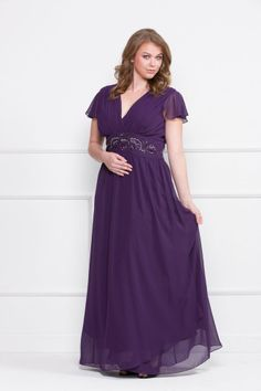 Long Chiffon Mother Of Bride Plus Size Formal Gown Long Dress Purple *CLEARANCE* #Dress