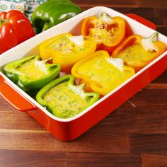 Peppers Omelet stuffed peppers are the keto breakfast you've been dreaming of. Get the recipe at .Omelet-Stuffed Peppers Omelet stuffed peppers are the keto breakfast you've been dreaming of. Get the recipe at . Egg Recipes, Brunch Recipes, Low Carb Recipes, Diet Recipes, Vegetarian Recipes, Cooking Recipes, Healthy Recipes, Brunch Food, Brunch Ideas