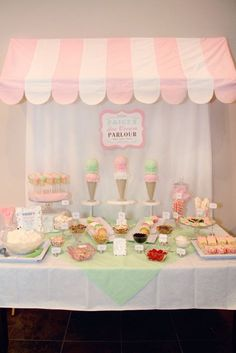 I have got to figure out a way to put the canop… Ice Cream Party – Dessert Table. I have got to figure out a way to put the canopy over my ice cream bar. Ice Cream Theme, Ice Cream Party, Ice Cream Buffet, Fete Emma, Sundae Bar, Ice Cream Social, Icecream Bar, Backdrops For Parties, Party Desserts