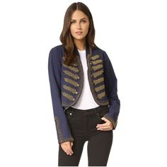 Free People Embellished Band Jacket ($200) ❤ liked on Polyvore featuring outerwear, jackets, navy, fleece-lined jackets, button jacket, navy blue military jacket, military inspired jacket and embellished military jacket