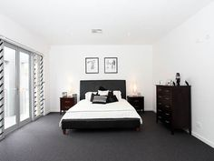 Modern Bedroom Carpet Ideas Which is Better for Bedrooms: Carpeting or Hardwood?: Rug helps make a area actually feel even m Dark Grey Carpet Bedroom, Dark Carpet, Best Carpet, Bedroom Carpet, Modern Carpet, Living Room Carpet, Wool Carpet, Bedroom Black, Neutral Carpet