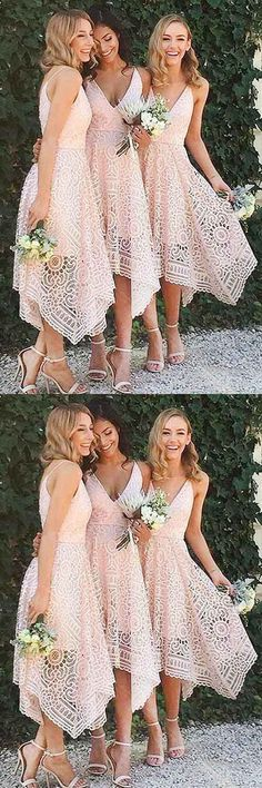 A-Line V-Neck Pearl Pink Lace Bridesmaid/Prom/Homecoming Dress BD053 #bridesmaid #prom #dress #fashion #pgmdress