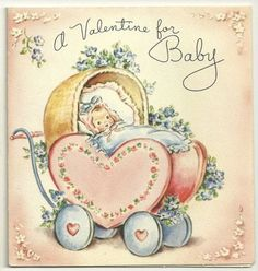 VINTAGE RUST CRAFT BOSTON VALENTINE FOR BABY CARD USED