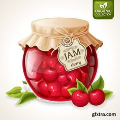 Buy Cherry Jam Jar by macrovector on GraphicRiver. Natural organic homemade cherry berry jam in glass jar with tag and paper cover vector illustration. Glass Jars Online, Cute Food Art, Organic Homemade, Blueberry Jam, Jam And Jelly, Jam Jar, Food Drawing, Food Illustrations, Recipe Cards