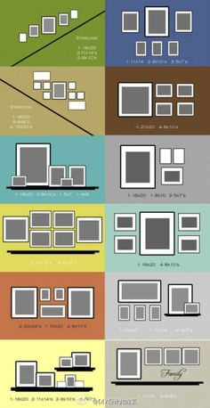 How to organise mismatched photo frames on a wall