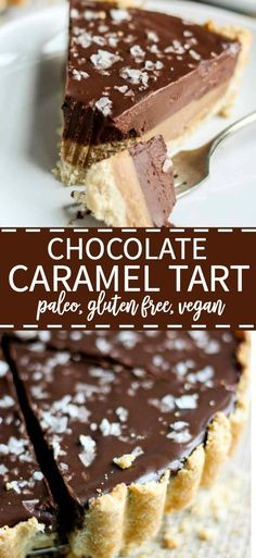 Chocolate Caramel Tart [Paleo, Gluten Free, Vegan] This chocolate caramel tart is paleo, gluten-free and vegan! Made with whole natural ingredients, this tart recipe is naturally sweet and satisfying. Chocolate Paleo, Chocolate Caramel Tart, Chocolate Recipes, Chocolate Ganache, Chocolate Tarts, Chocolate Gluten Free Desserts, Caramel Recipes, Chocolate Caramels, Chocolate Cheesecake