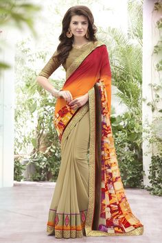 Georgette Party Wear Saree In Beige And Yellow Colour