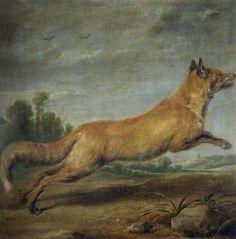 """Zorra corriendo"", Paul de Vos. Óleo sobre lienzo, siglo XVII"