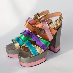 70s Women's Platform Shoes RAINBOW METALLIC - FUN!!